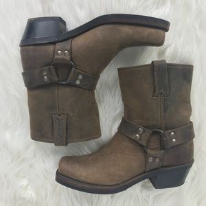 "Frye Harness 8"" Tan Moto Boots Brown Distressed"